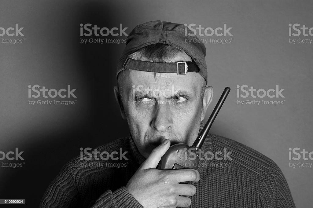 Man Talking On A Radio stock photo