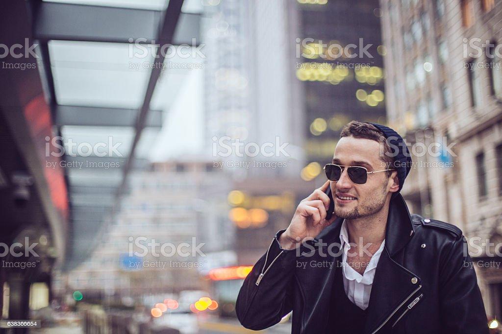 Man talking on mobile stock photo