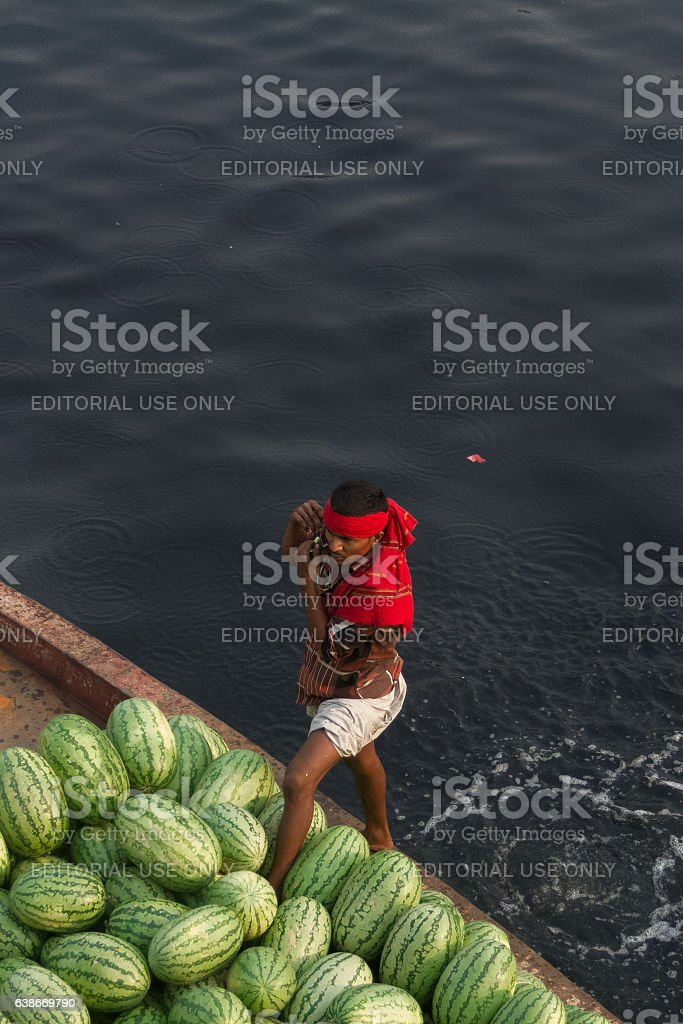 Man talking over mobile while loading boat with watermelons. stock photo