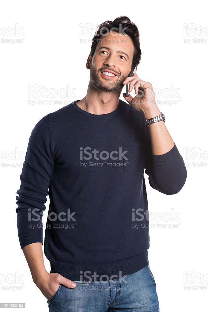 Man talking over phone stock photo