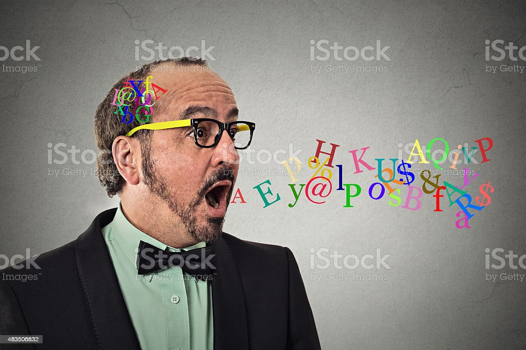 man talking symbols alphabet letters coming out of mouth stock photo
