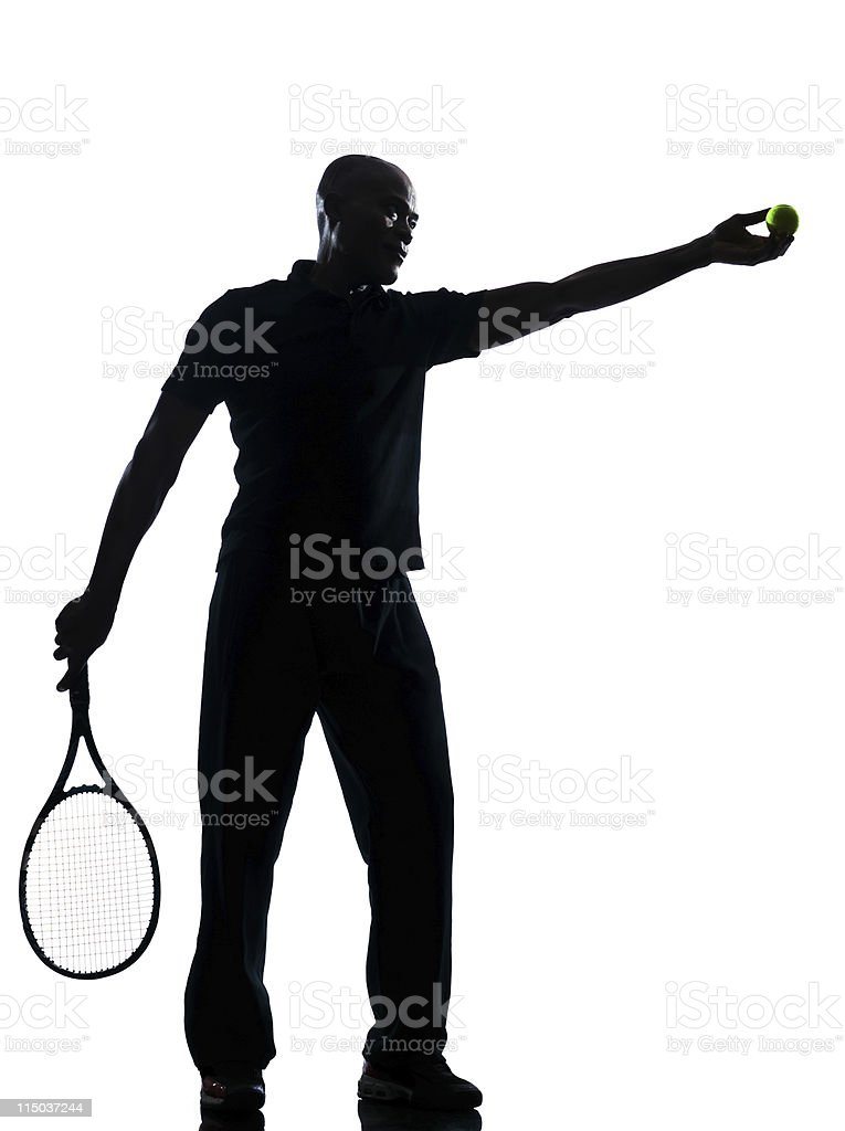 man tennis player at service royalty-free stock photo
