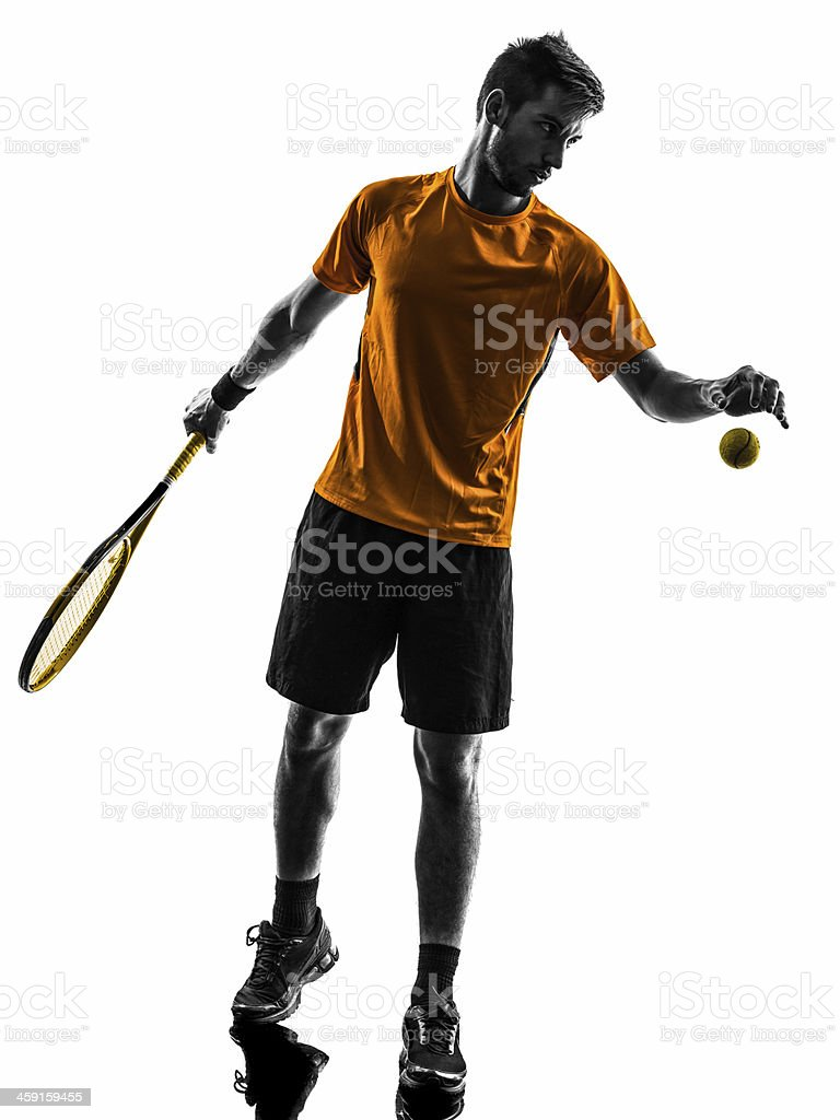 man tennis player at service serving silhouette royalty-free stock photo