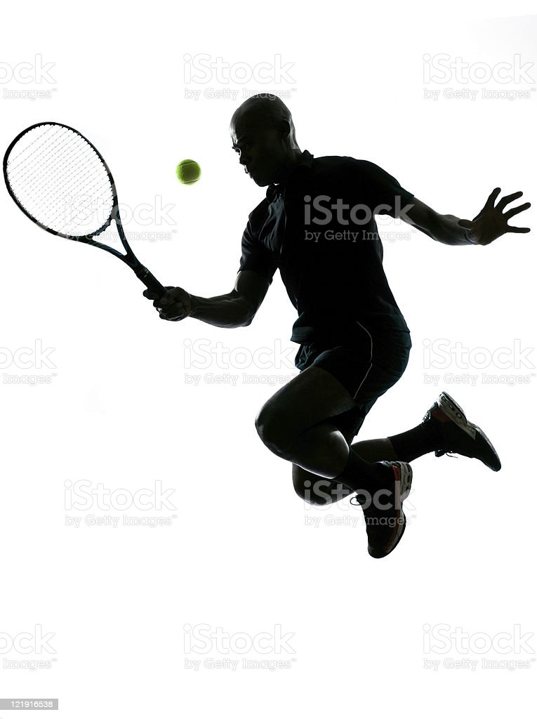 man tennis player forehand jumping royalty-free stock photo