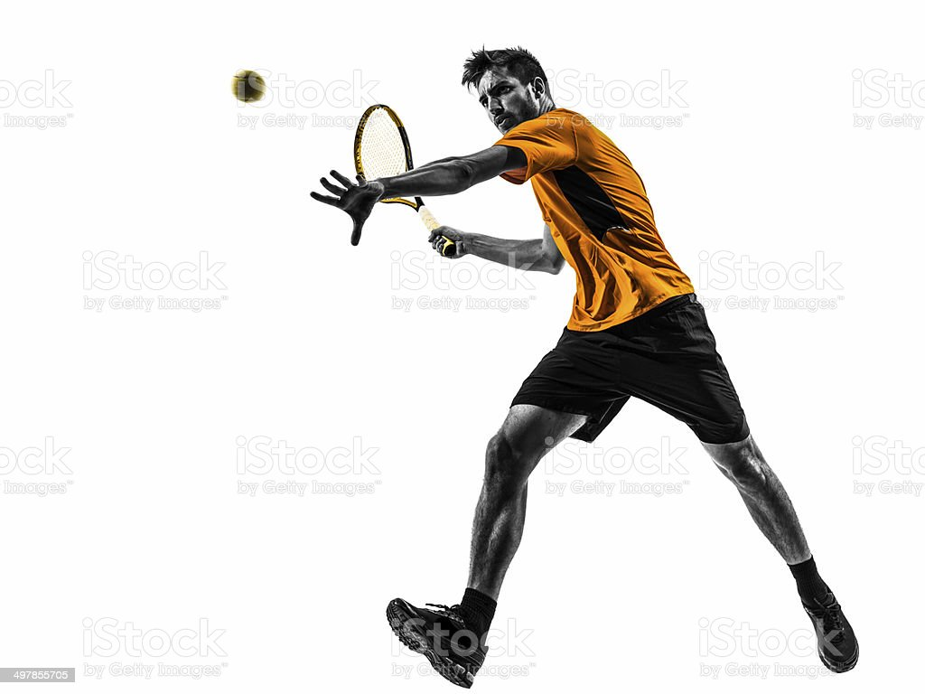 man tennis player silhouette stock photo