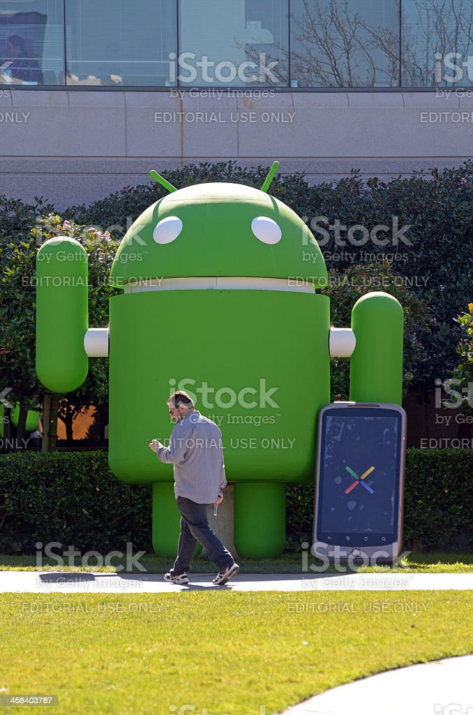 man texting by Google Android royalty-free stock photo