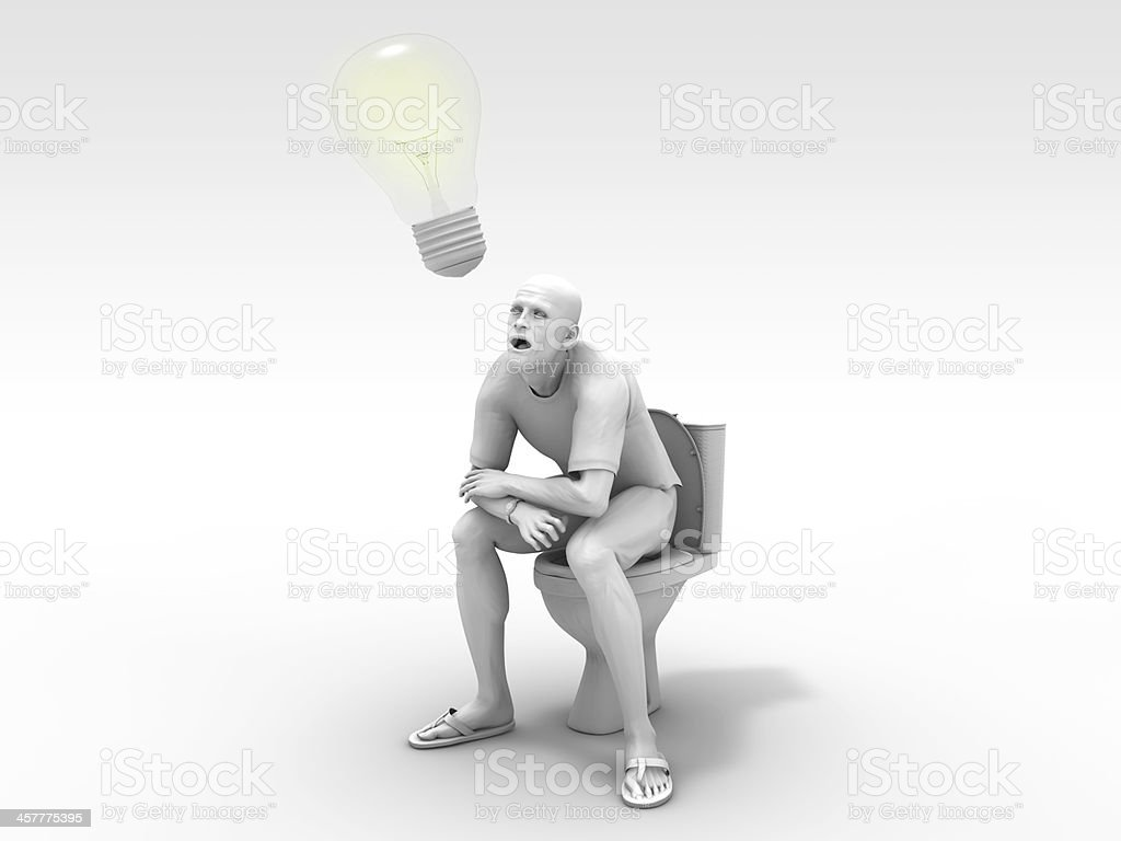 Man thinking an idea in toilet stock photo