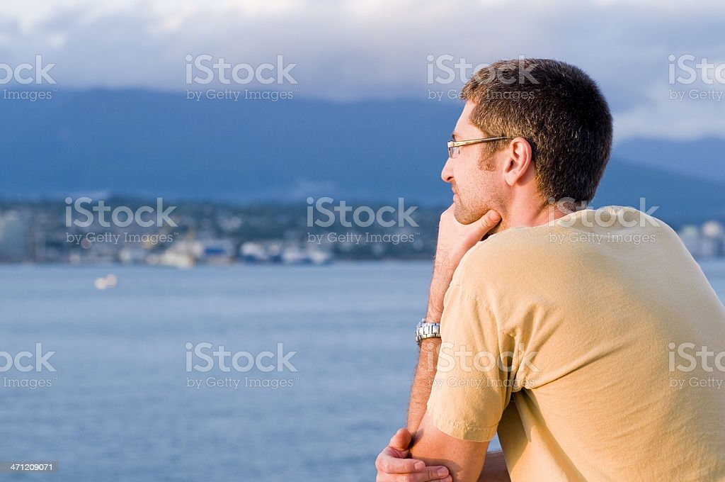 Man Thinking at Twilight royalty-free stock photo