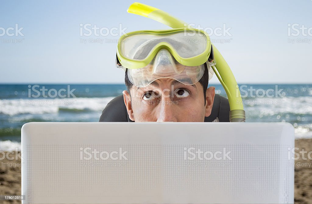 man thinking where he will travel next vacation stock photo