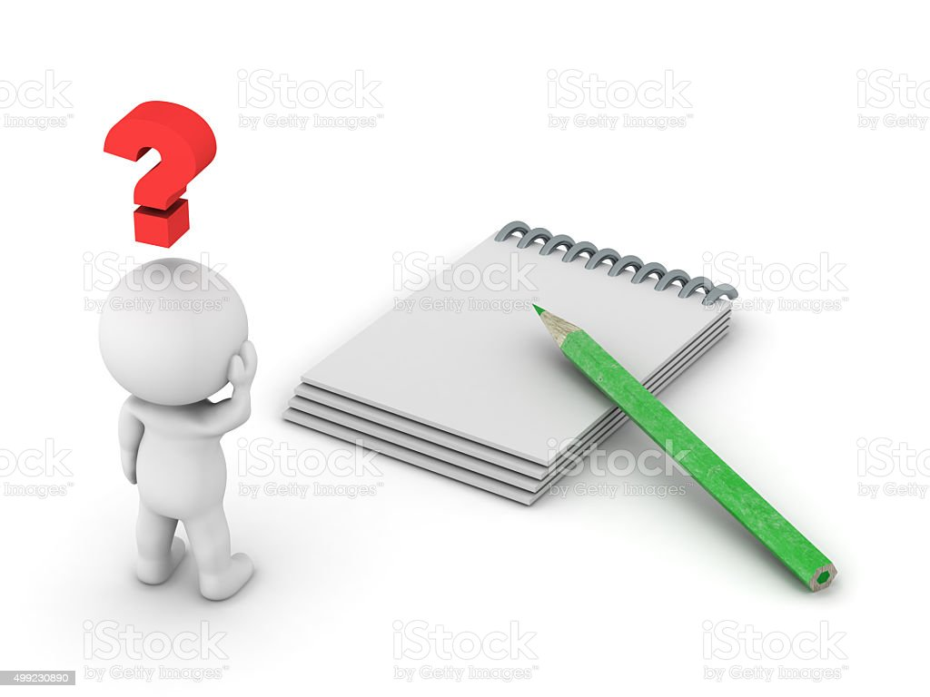 3D Man thinking with empty notepad stock photo