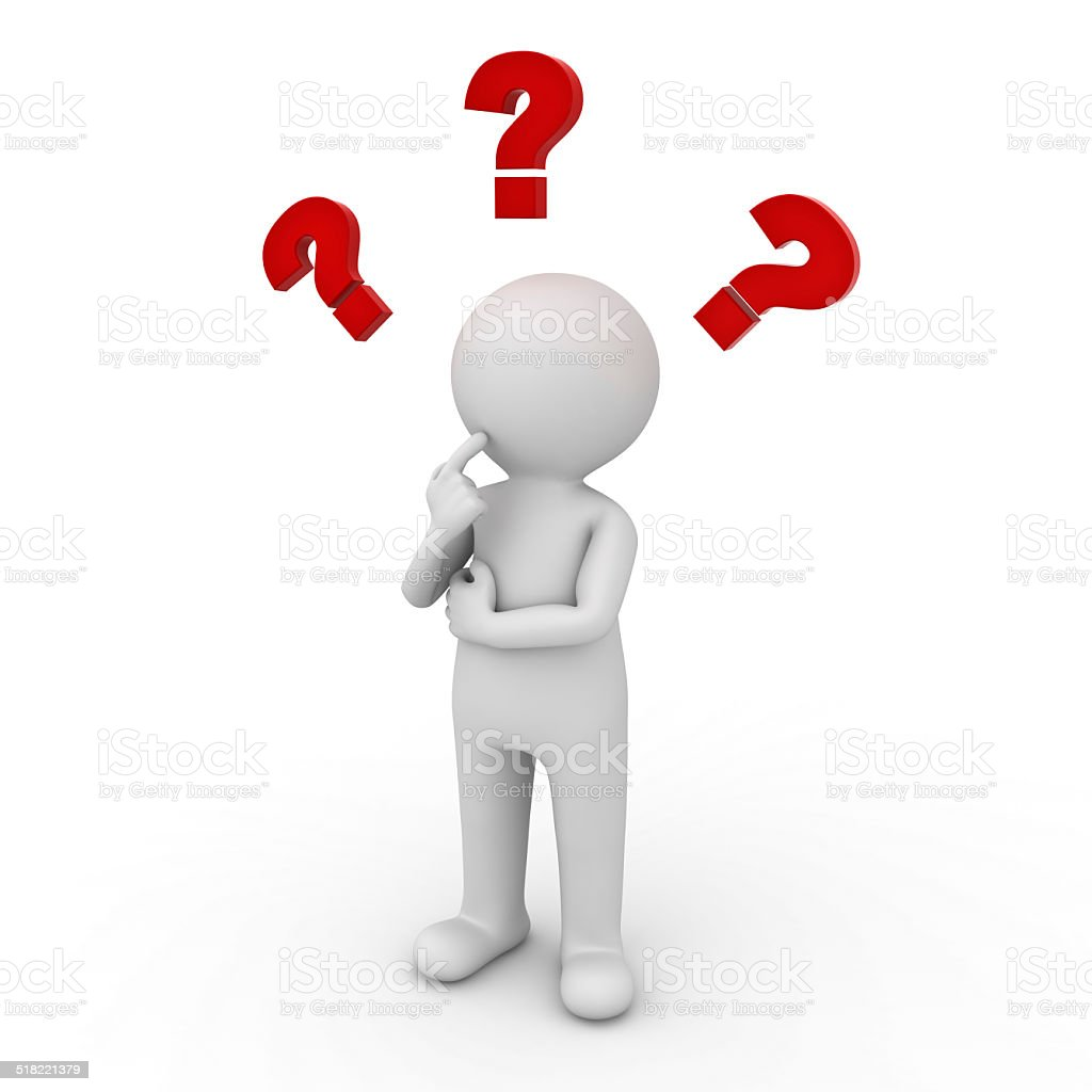 Man thinking with red question marks vector art illustration