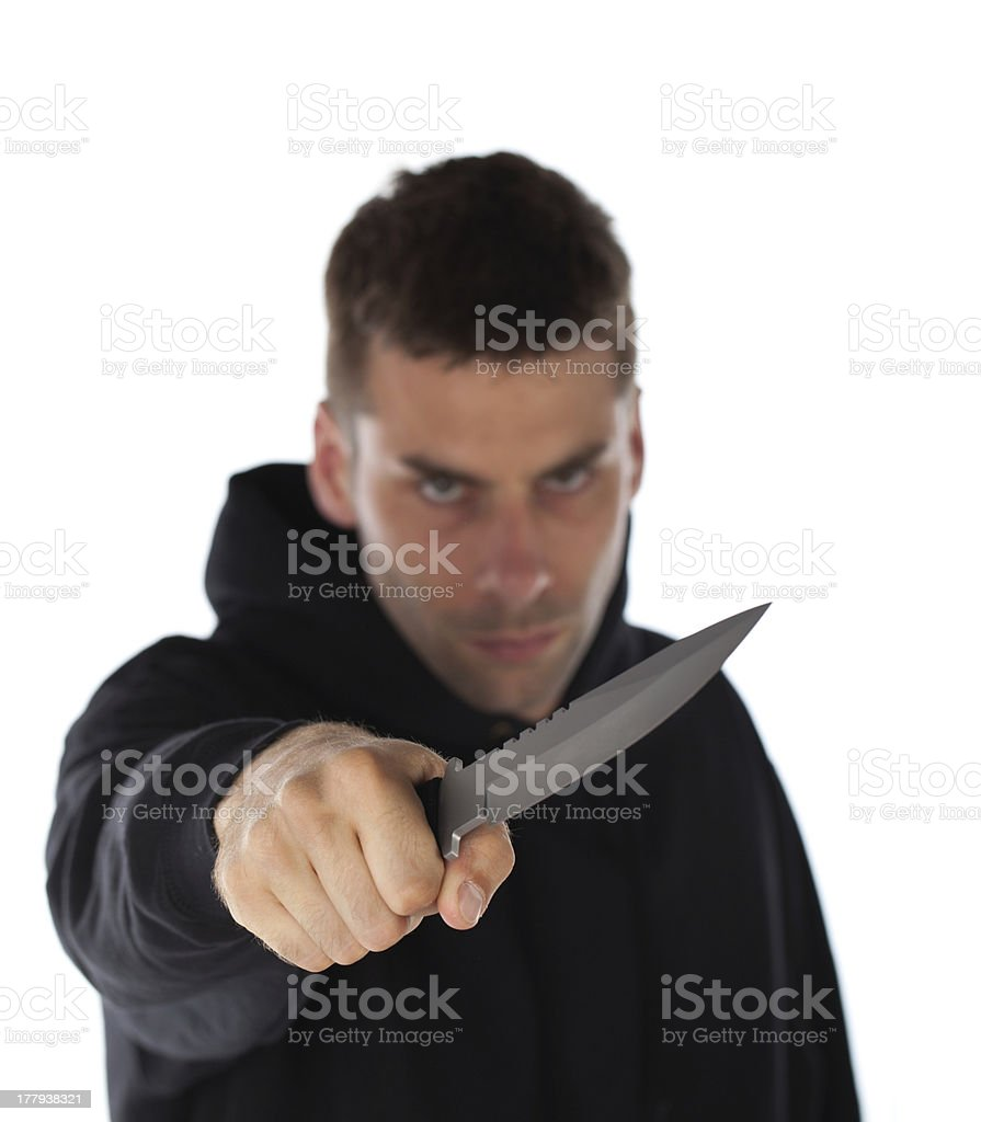 Man threatening with knife royalty-free stock photo