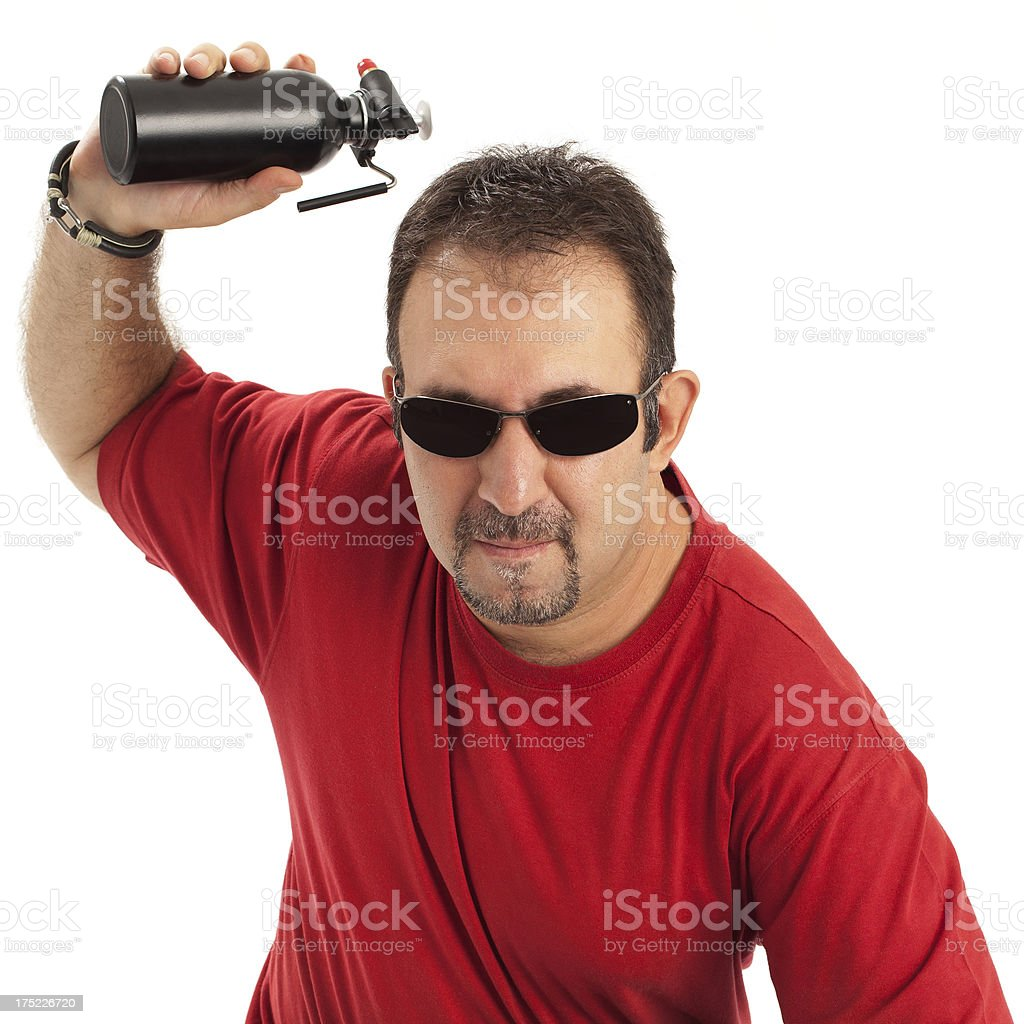 Man threw the fuel oil bootle royalty-free stock photo