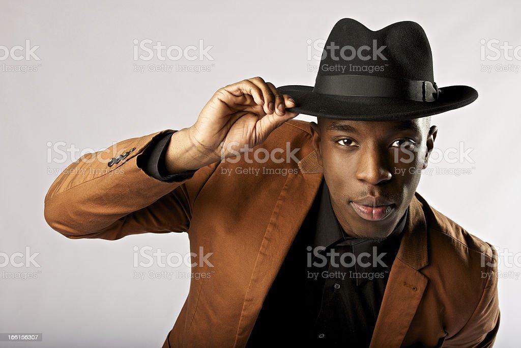 Man tipping cap stock photo