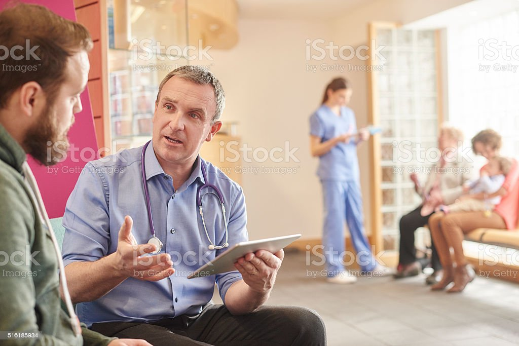 man to man healthcare stock photo