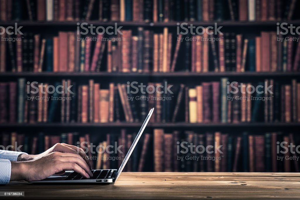Man to operate the computer stock photo