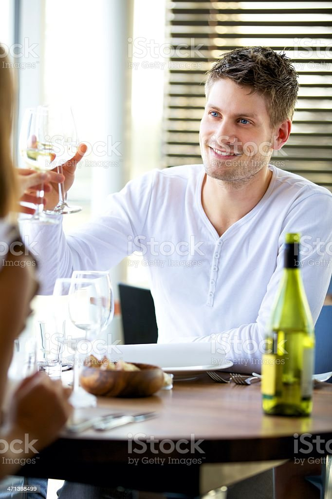 Man Toasting with a Glass of Wine royalty-free stock photo
