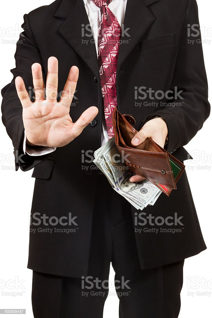 Man took out the money from her purse stock photo