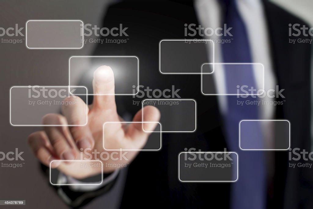 Man touching a screen interface stock photo