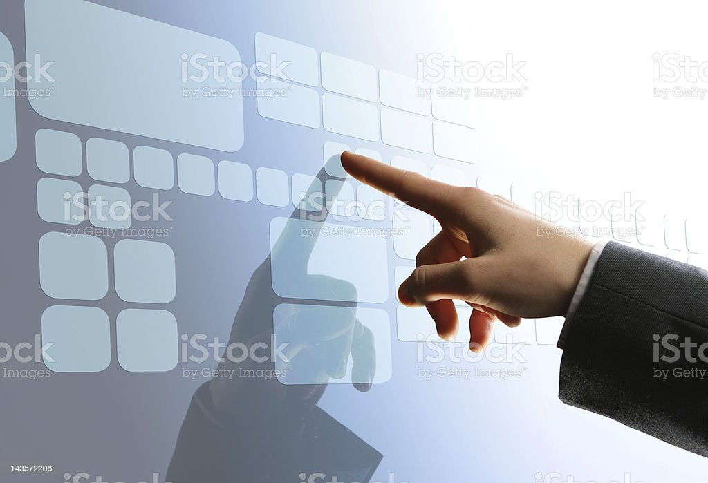 Man touching a touchscreen interface royalty-free stock photo