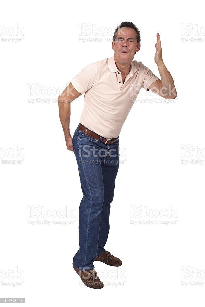 Man Touching Bum indicating Bad Smell stock photo