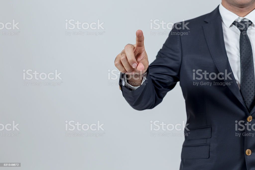 Man touching stock photo