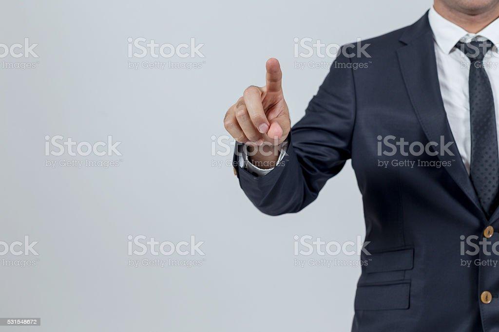 Man touching stock photo