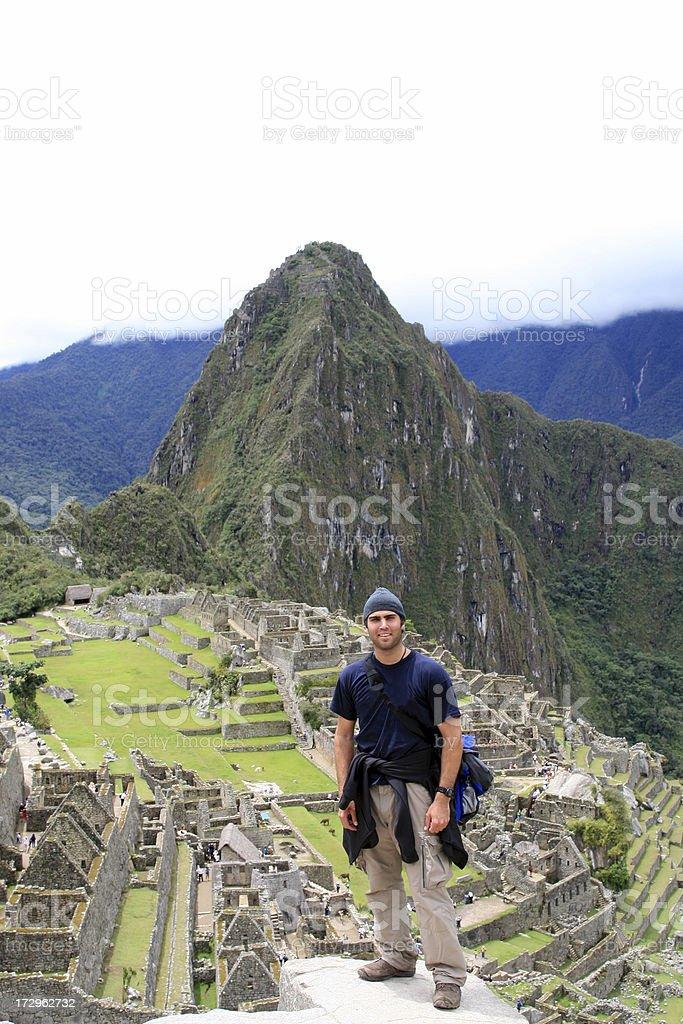 Man Tourist Hiking at Machu Picchu stock photo