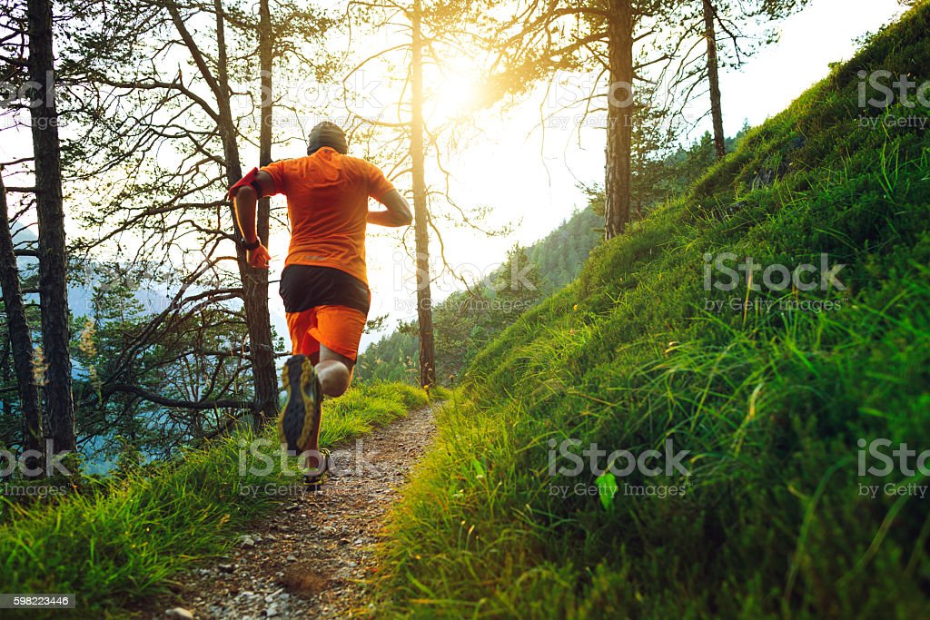 Man trail running in the forest stock photo