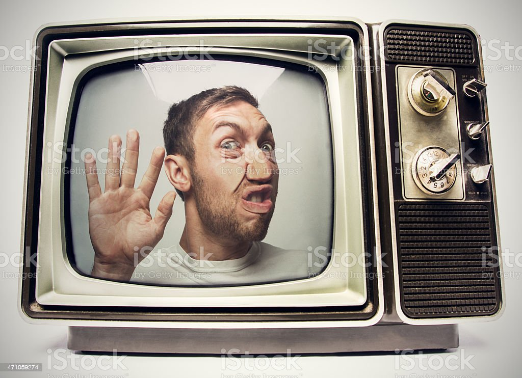 Man Trapped in Retro Television stock photo