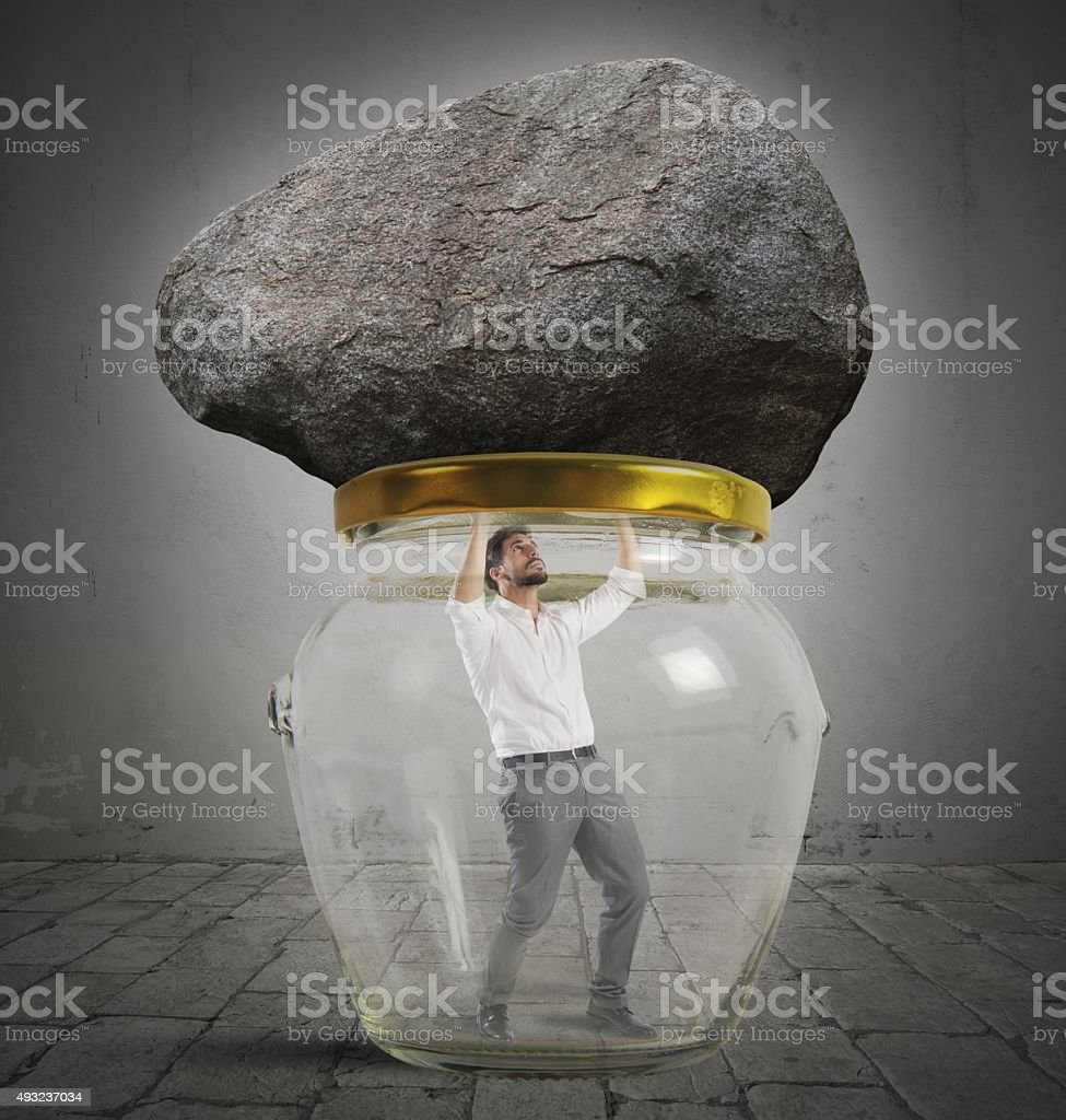 Man trapped stock photo
