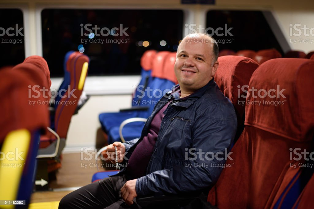 Man traveling on ferryboat stock photo