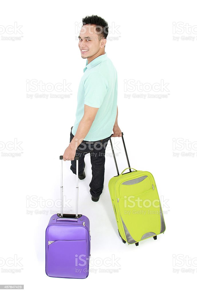 man traveling with two suitcase royalty-free stock photo