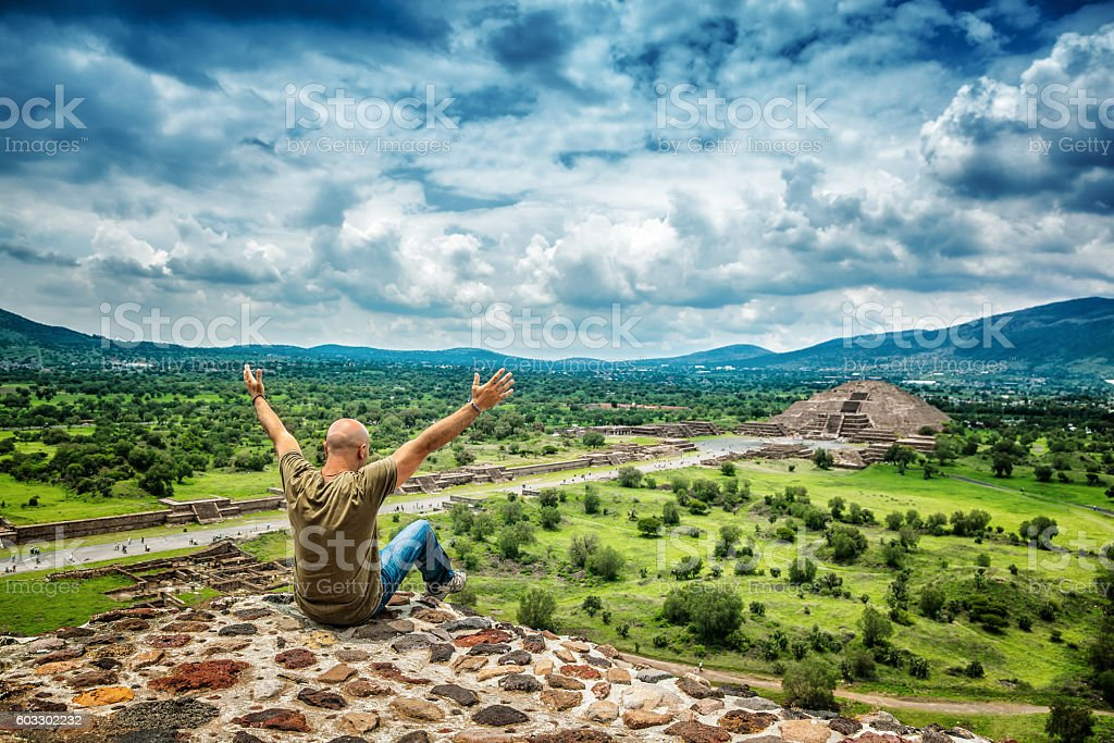Man travels to Mexico stock photo