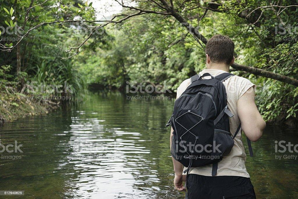 Mann Wandern durch tropischen Dschungel und Fluss Lizenzfreies stock-foto
