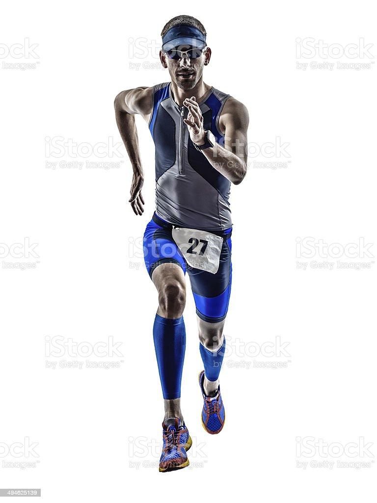 man triathlon iron man athlete runners running stock photo