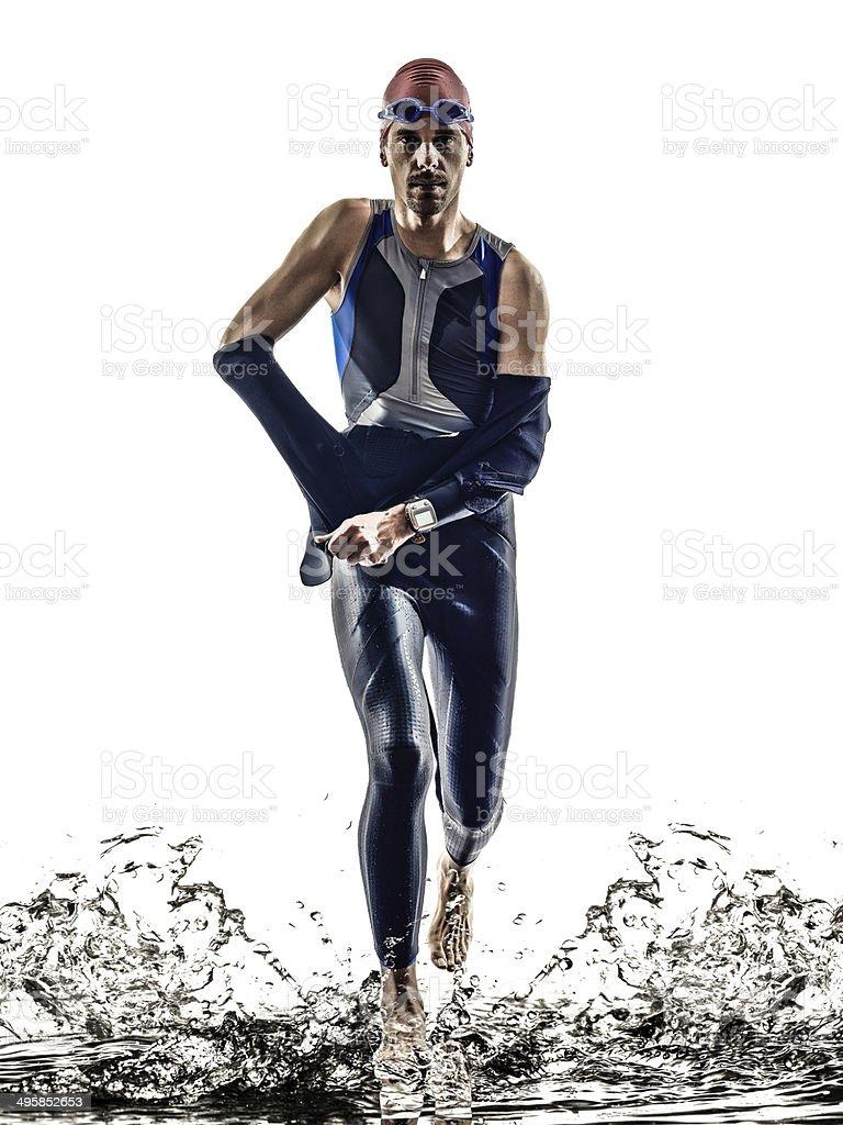 man triathlon iron man athlete swimmers running stock photo