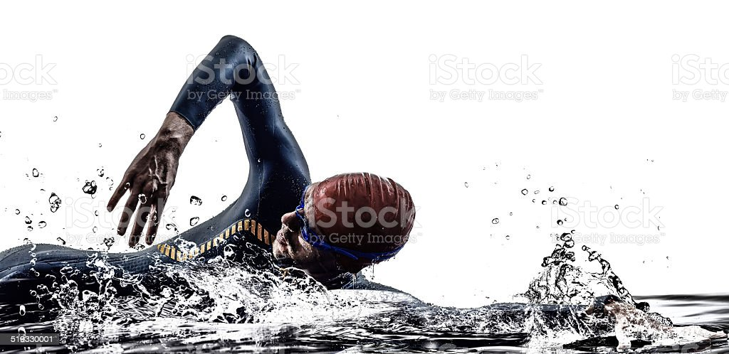 man triathlon iron man athlete swimmers swimming stock photo
