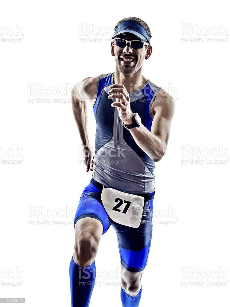 man triathlon ironman athlete runners running stock photo