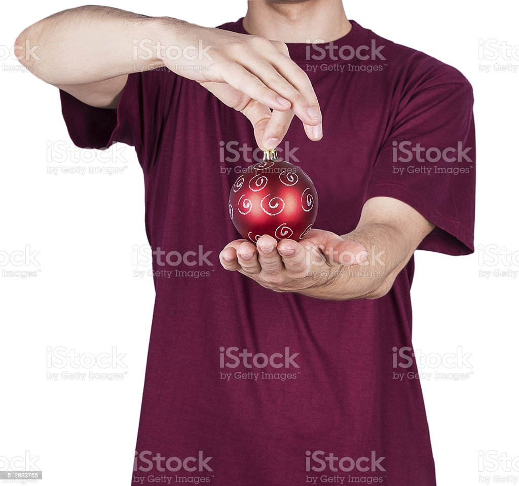 man T-shirt Christmas ball stock photo