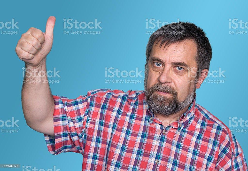 man tumb up stock photo