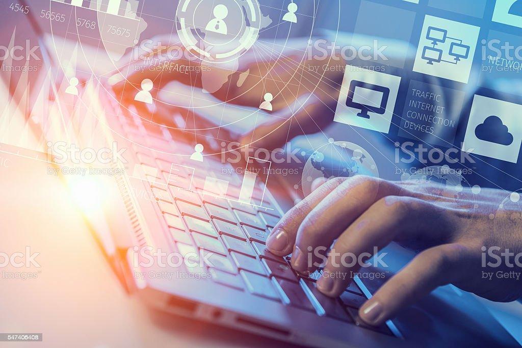 Man typing on keyboard . Mixed media stock photo