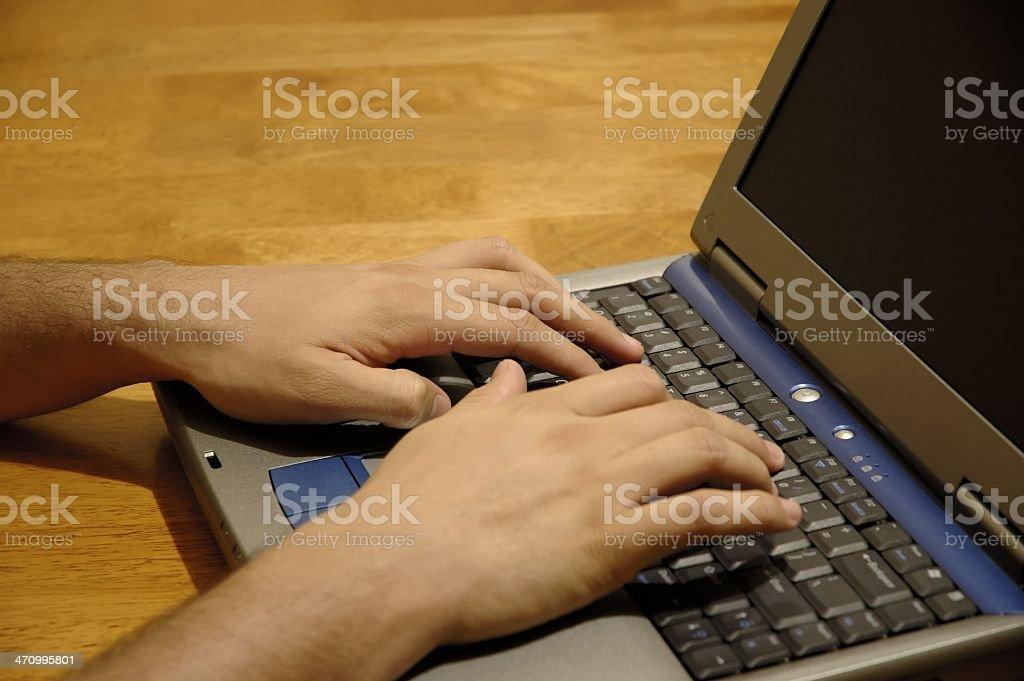 Man typing stock photo