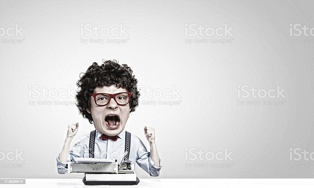 Man typist stock photo