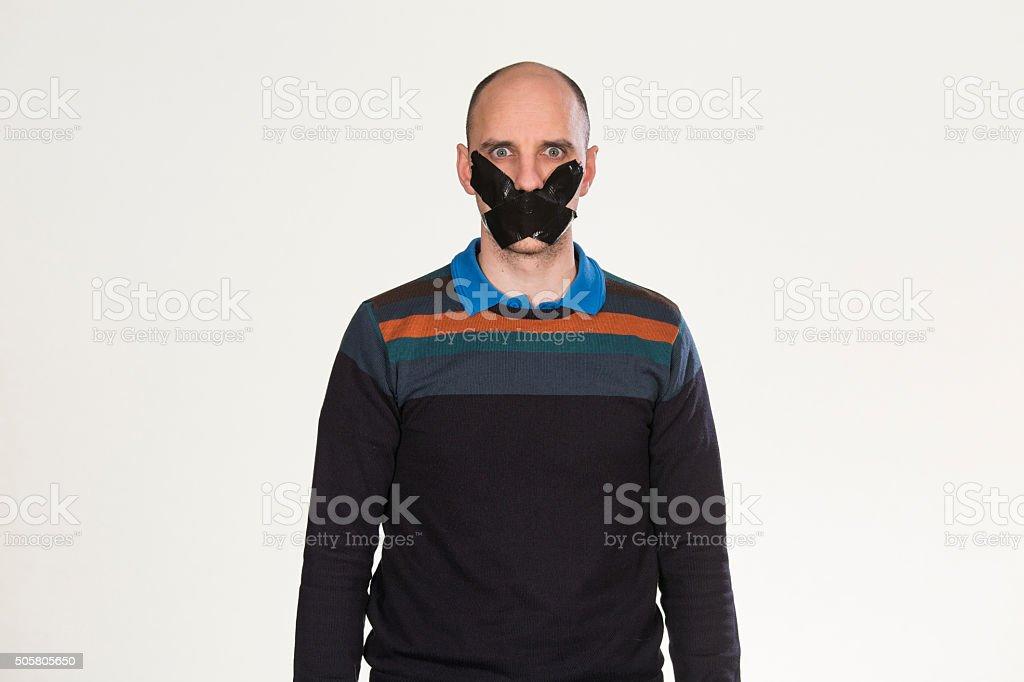 Man unable to speak stock photo
