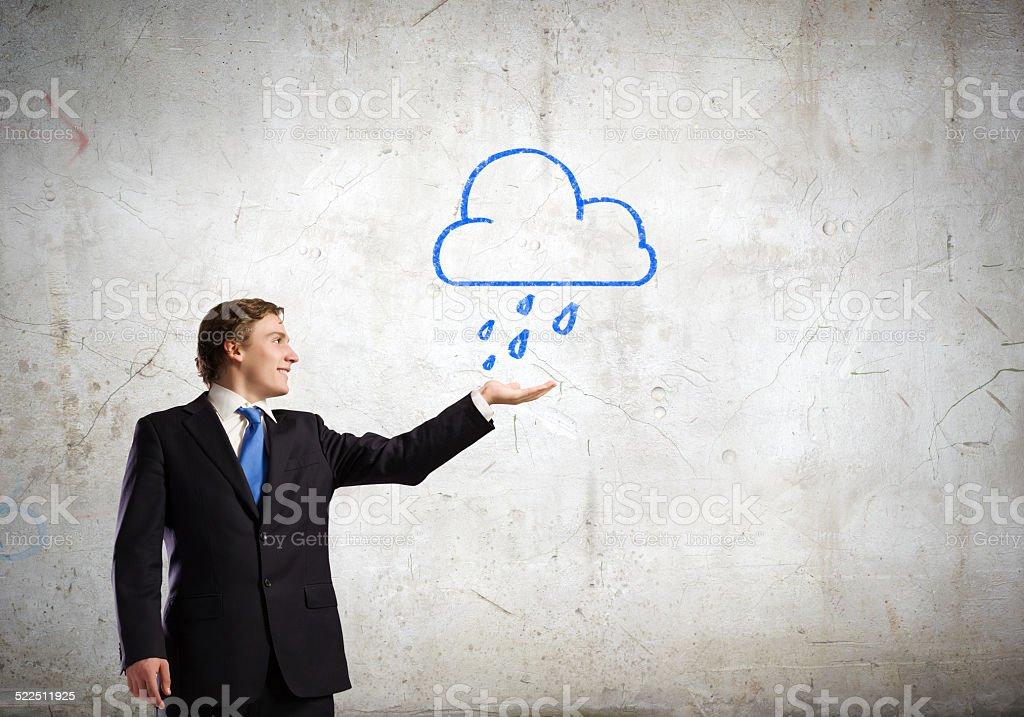 Man under rain stock photo