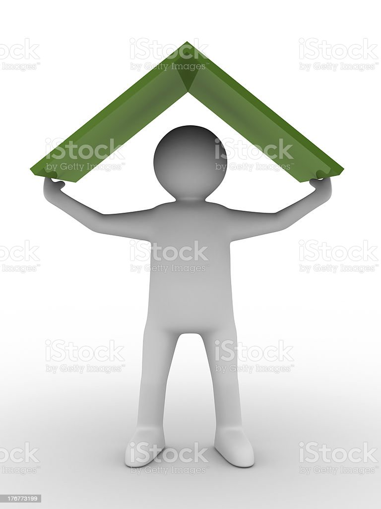 man under roof on white background. Isolated 3D image royalty-free stock photo