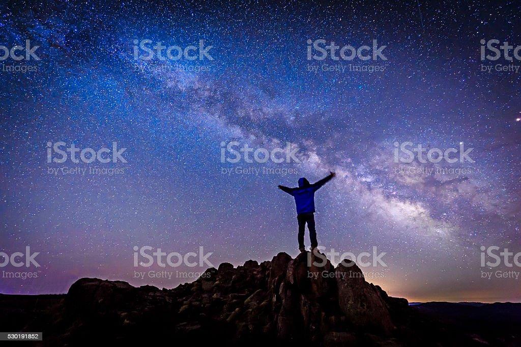 Man under The Milky Way Galaxy stock photo