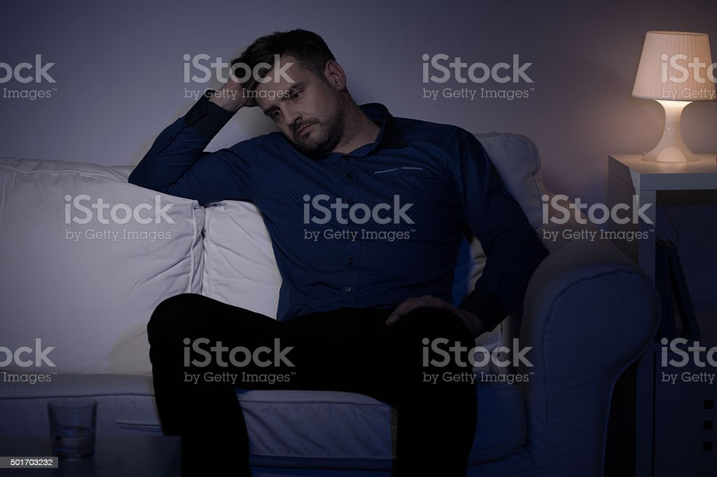 Man undergoing a midlife crisis stock photo
