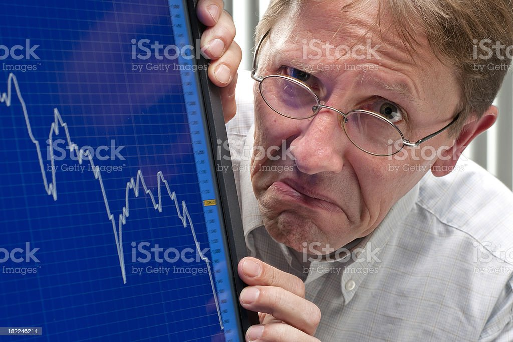 man unhappy about sinking stock exchange rate XXXL royalty-free stock photo